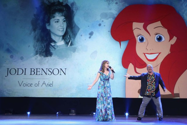 ANAHEIM, CA - JULY 14: Actor Jodi Benson (Ariel/THE LITTLE MERMAID) (L) of RALPH BREAKS THE INTERNET: WRECK-IT RALPH 2 and Chief Creative Officer of Pixar and Walt Disney Animation Studios John Lasseter took part today in the Walt Disney Studios animation presentation at Disney's D23 EXPO 2017 in Anaheim, Calif. RALPH BREAKS THE INTERNET: WRECK-IT RALPH 2 will be released in U.S. theaters on November 21, 2018.   Jesse Grant/Getty Images for Disney/AFP