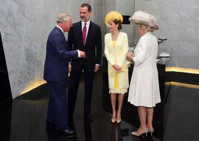 Britain's Prince Charles and Camilla, Duchess of Cornwall greet Spain's King Felipe and Queen Letizia at their hotel in London, Britain July 12, 2017. REUTERS/Hannah McKay
