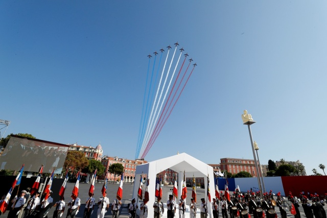 Alpha jets of the Patrouille de France take part in the commemorative ceremony for last year's July 14 Bastille Day fatal truck attack on the Promenade des Anglais in Nice, France, July 14, 2017.  REUTERS/Eric Gaillard