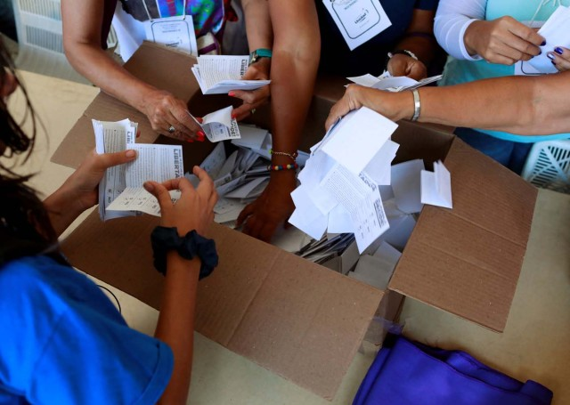 Opposition supporters count votes at a polling station after an unofficial plebiscite against President Nicolas Maduro's government and his plan to rewrite the constitution, in Caracas, Venezuela July 16, 2017. REUTERS/Marco Bello