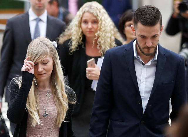 Charlie Gard's parents Coonie Yates and Chris Gard arrive at the High Court ahead of a hearing on their baby's future, in London, Britain July 24, 2017. REUTERS/Peter Nicholls