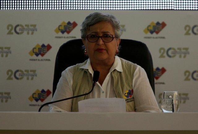 La presidenta del CNE, Tibisay Lucena. REUTERS/Marco Bello