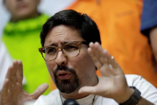 Venezuela's opposition lawmaker Freddy Guevara gestures during a news conference in Caracas, Venezuela, July 28, 2017. REUTERS/Ueslei Marcelino