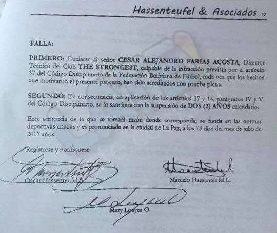 Comunicado Cesar Farias Bolivia