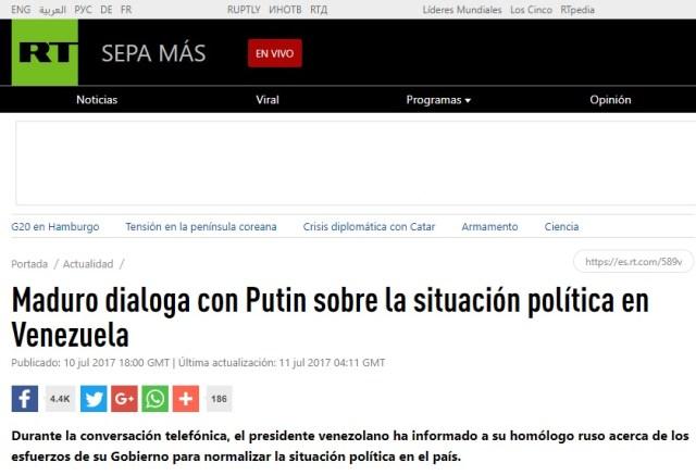 PutinMaduroConversacion10JUL2017RT