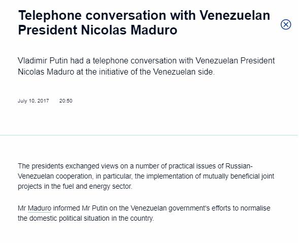 PutinMaduroConversacion210JUL2017