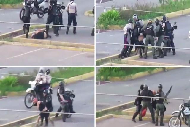 El hombre solitario y desarmado fue abordado de manera violenta por los uniformados en Lechería. Foto: LaPatilla.com