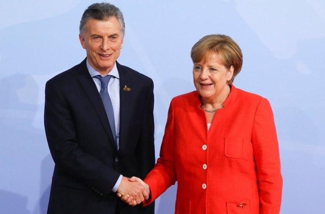 Mauricio Macri, presidente de Argentina con Angela Merkel anfitriona del G20 en Hamburgo,Alemania (Foto Reuters)