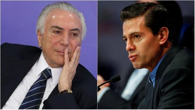 Presidentes de Brasil (d) y México (i) Michel Temer y Enrique Peña Nieto. Fotos: Reuters/ Archivo/ Composición de La Patilla