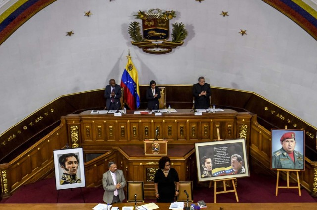 "The president of Venezuela's Constituent Assembly Delcy Rodriguez (back row-C) is pictured during a session in Caracas on August 8 , 2017. The United Nations on Tuesday slammed Venezuela's use of ""excessive force"" against protesters, amid worsening tensions and fresh moves against the opposition. / AFP PHOTO / JUAN BARRETO"