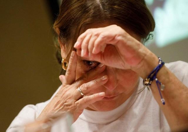 Mitzy Capriles de Ledezma, wife of former Caracas mayor Antonio Ledezma, reacts during a news conference in Madrid, Spain August 1, 2017. REUTERS/Sergio Perez