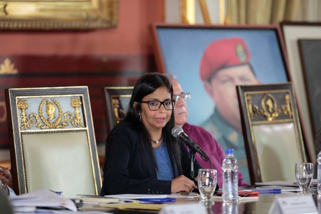 National Constitutional Assembly's President Delcy Rodriguez speaks during a session of the assembly at Palacio Federal Legislativo in Caracas, Venezuela August 5, 2017. REUTERS/Marco Bello
