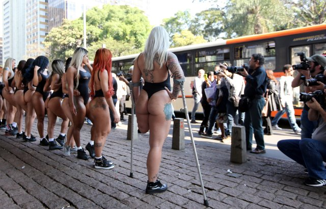 Miss BumBum Brazil 2017 pageant contestants pose after parading at Paulista Avenue in Sao Paulo's financial centre