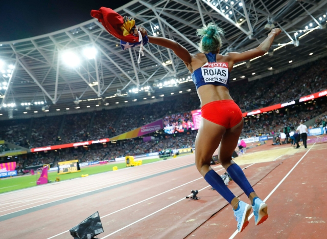 Athletics - World Athletics Championships – women's triple jump final – London Stadium, London, Britain – August 7, 2017 – Yulimar Rojas of Venezuela reacts after winning the final. REUTERS/Kai Pfaffenbach