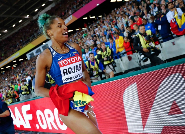 Athletics - World Athletics Championships – women's triple jump final – London Stadium, London, Britain – August 7, 2017 – Yulimar Rojas of Venezuela celebrates after winning the final. REUTERS/Kai Pfaffenbach