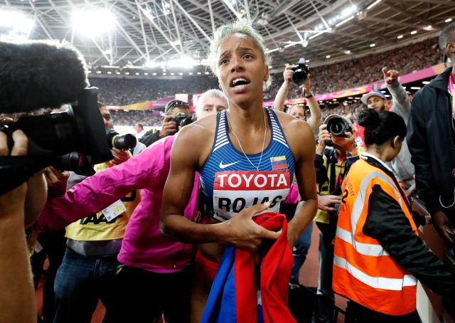 Athletics - World Athletics Championships - Women's Triple Jump Final – London Stadium, London, Britain - August 7, 2017. Yulimar Rojas of Venezuela celebrates winning gold. REUTERS/Phil Noble