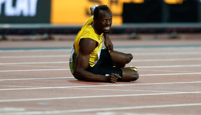 Athletics - World Athletics Championships - Men's 100 Metres Relay Final - London Stadium, London, Britain – August 12, 2017. Usain Bolt of Jamaica reacts after the final. REUTERS/Phil Noble
