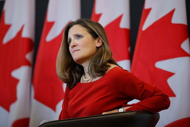 Canada's Foreign Minister Chrystia Freeland takes part in an event at the University of Ottawa in Ottawa, Ontario, Canada, August 14, 2017. REUTERS/Chris Wattie