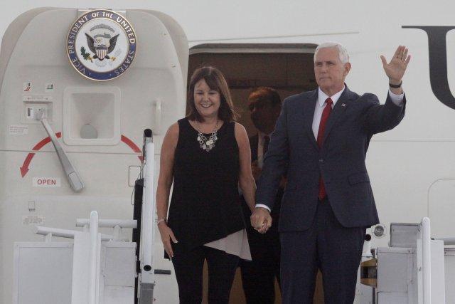 U.S. Vice President Mike Pence and his wife Karen arrive to the Tocumen international airport in Panama City, Panama, August 17, 2017. REUTERS/Carlos Lemos