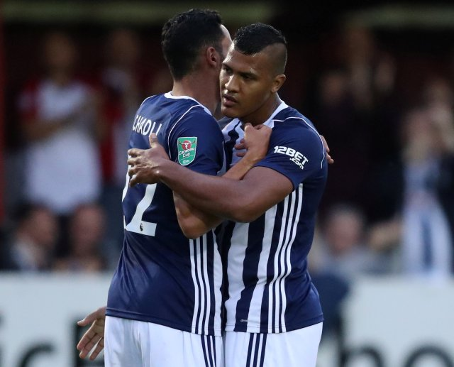 "Soccer Football - Carabao Cup Second Round - Accrington Stanley vs West Bromwich  - Accrington, Britain - August 22, 2017   West Bromwich Albion's Salomon Rondon celebrates scoring their first goal with Nacer Chadli    Action Images via Reuters/John Clifton     EDITORIAL USE ONLY. No use with unauthorized audio, video, data, fixture lists, club/league logos or ""live"" services. Online in-match use limited to 45 images, no video emulation. No use in betting, games or single club/league/player publications. Please contact your account representative for further details."