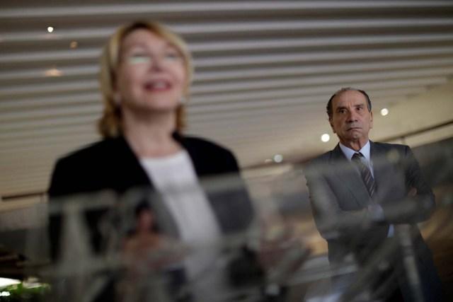Brazil's Foreign Minister Aloysio Nunes Ferreira listens to Venezuela's former chief prosecutor Luisa Ortega Diaz during a news conference, in Brasilia, Brazil August 23, 2017. REUTERS/Ueslei Marcelino
