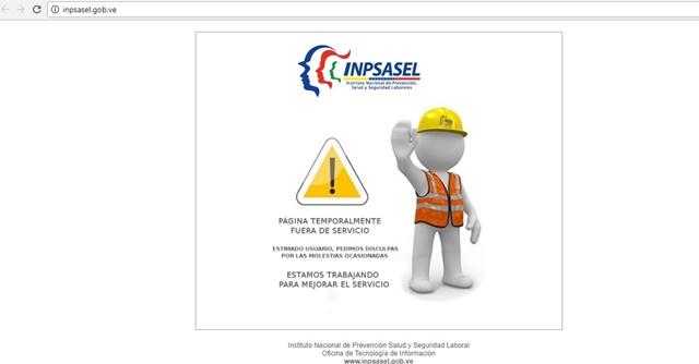 Captura del sitio web www.inpsasel.gob.ve