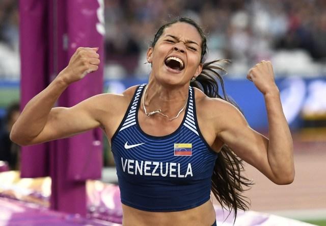 Athletics - World Athletics Championships - Women's Pole Vault Final – London Stadium, London, Britain - August 6, 2017. Robeilys Peinado of Venezuela reacts. REUTERS/Dylan Martinez