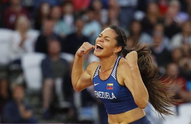 Athletics - World Athletics Championships - Women's Pole Vault Final – London Stadium, London, Britain - August 6, 2017. Robeilys Peinado of Venezuela reacts. REUTERS/Kai Pfaffenbach