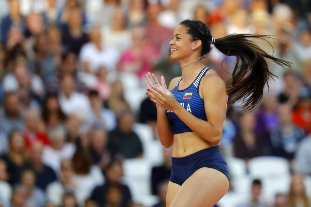 Athletics - World Athletics Championships – women's pole vault final – London Stadium, London, Britain – August 6, 2017 –  Robeilys Peinado of Venezuela reacts. REUTERS/Kai Pfaffenbach