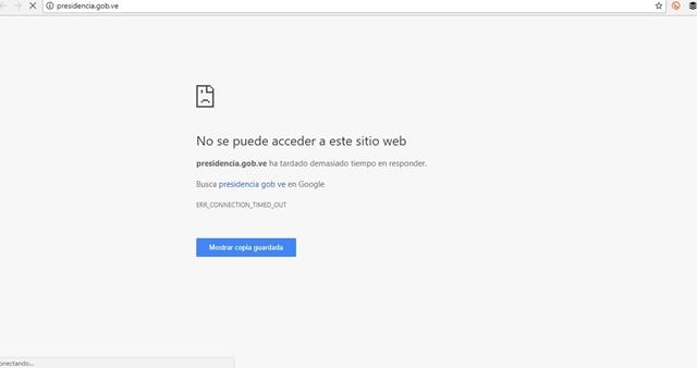 Captura del sitio web www.presidencia.gob.ve/