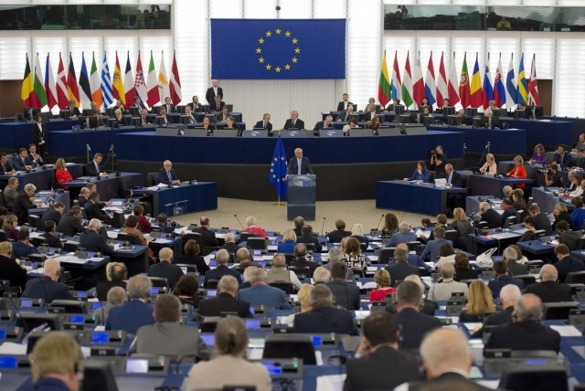 European Commission President Jean-Claude Juncker delivers his State of the Union speech at the European Parliament in Strasbourg, eastern France, on September 13, 2017.  / AFP PHOTO / PATRICK HERTZOG
