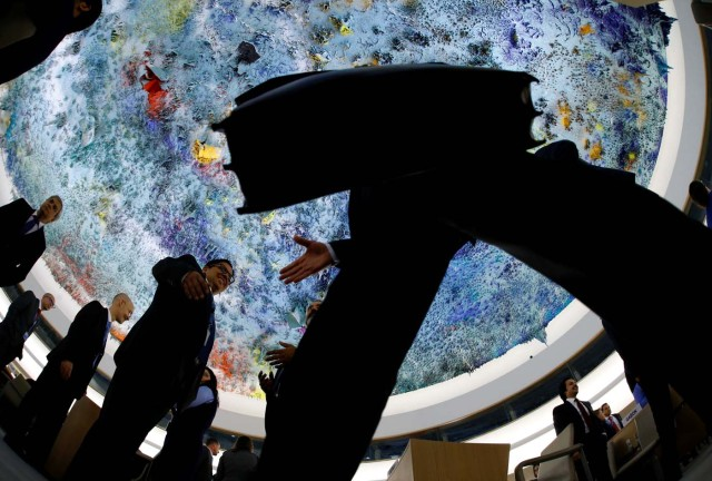Delegates arrive for the 36th Session of the Human Rights Council at the United Nations in Geneva, Switzerland September 11, 2017. Picture taken with a fisheye lens. REUTERS/Denis Balibouse