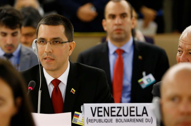 Venezuela's Foreign Minister Jorge Arreaza addresses the 36th Session of the Human Rights Council at the United Nations in Geneva, Switzerland September 11, 2017. REUTERS/Denis Balibouse