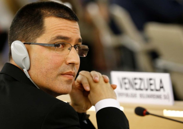 Venezuela's Foreign Minister Jorge Arreaza attends the 36th Session of the Human Rights Council at the United Nations in Geneva, Switzerland September 11, 2017. REUTERS/Denis Balibouse