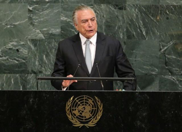 El presidente de Brasil, Michel Temer, en la Asamblea General de las Naciones Unidas en la sede de la ONU en Nueva York, sep 19, 2017. REUTERS/Lucas Jackson