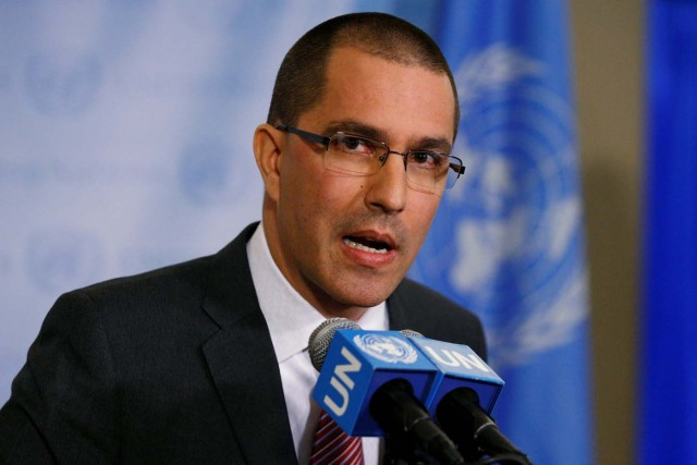 Venezuela's Foreign Minister Jorge Arreaza speaks during a press conference on the sidelines of the 72nd United Nations General Assembly at U.N. Headquarters in Manhattan, New York, U.S., September 19, 2017. REUTERS/Brendan McDermid