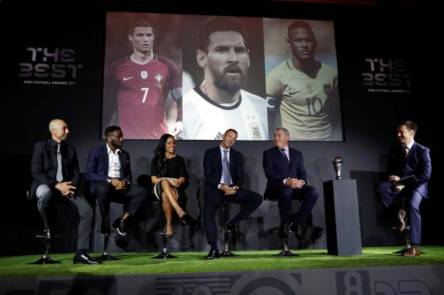 Soccer Football - The Best FIFA Football Awards - Finalists Announcement - London, Britain - September 22, 2017 Roberto Di Matteo, Jay-Jay Okocha, Alex Scott, Andriy Shevchenko and Peter Shilton during the Finalists Announcement at The Best FIFA Football Awards Action Images via Reuters/John Sibley