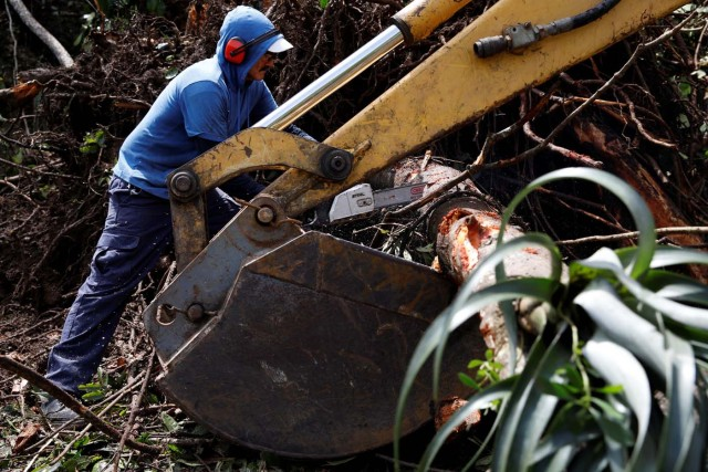 Workers use a backhoe loader and a chainsaw to remove fallen trees from the street remove after the area was hit by Hurricane Maria in Guajataca, Puerto Rico September 23, 2017. REUTERS/Carlos Garcia Rawlins