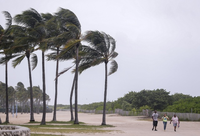 ELX27. Miami Beach (United States), 09/09/2017.- People walk past blowing palm trees as the weather conditions deteriorate due to Hurricane Irma in Miami Beach, Florida, USA, 09 September 2017. Many areas are under mandatory evacuation orders as Irma approaches Florida. (Estados Unidos) EFE/EPA/ERIK S. LESSER