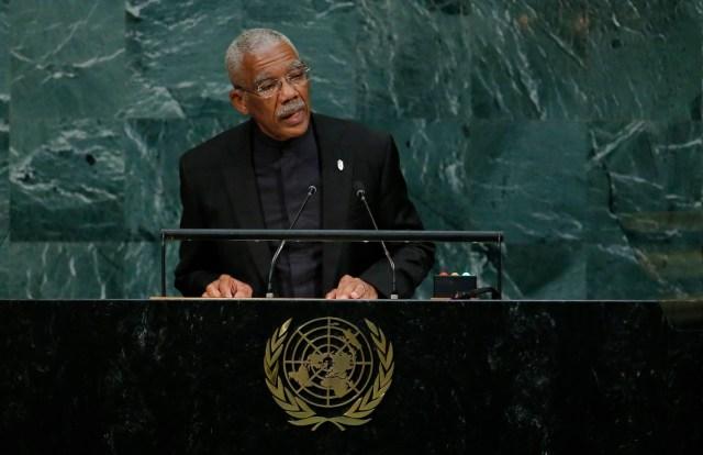 Guyana President David Arthur Granger addresses the 72nd United Nations General Assembly at U.N. Headquarters in New York, U.S., September 20, 2017. REUTERS/Eduardo Munoz