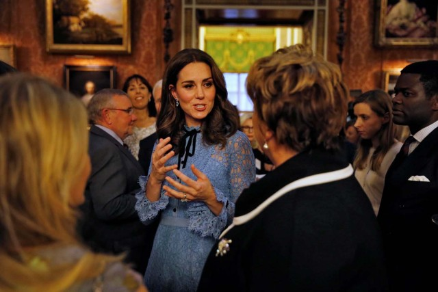 Catherine Duchess of Cambridge celebrates World Mental Health Day at Buckingham Palace in London, Britain, October 10, 2017. REUTERS/ Heathcliff O'Malley/Pool