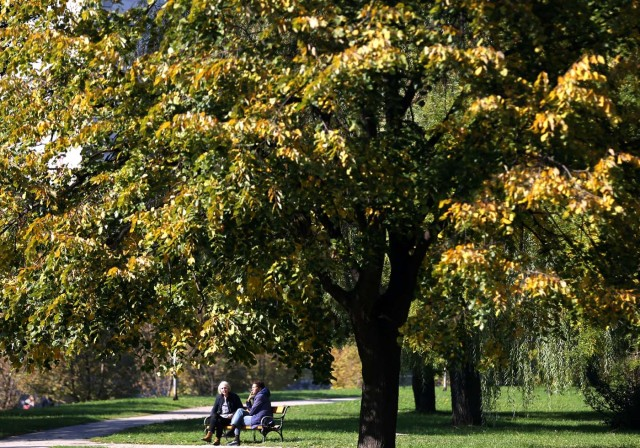 Women enjoy a warm autumn day in the central town park in Zenica, Bosnia and Herzegovina, October 13, 2017. REUTERS/Dado Ruvic
