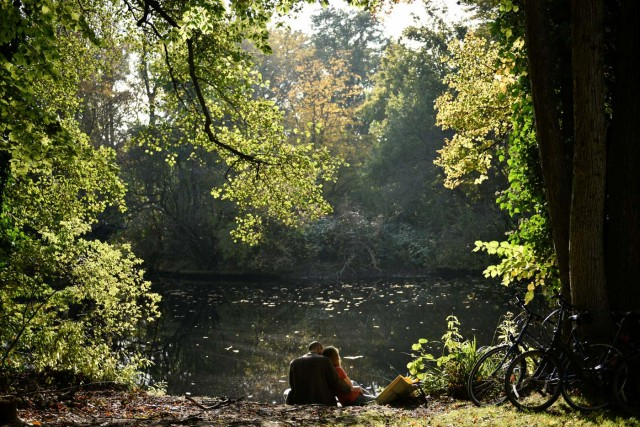 A couple relaxes at Tiergarten park on a sunny autumn day in Berlin, Germany October 15, 2017. REUTERS/Stefanie Loos