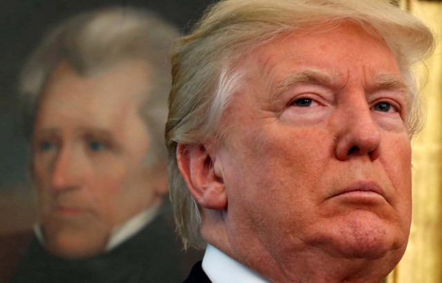 A painting of President Andrew Jackson is pictured, as U.S. President Donald Trump hosts the Minority Enterprise Development Week White House awards ceremony, at the White House in Washington, U.S., October 24, 2017. REUTERS/Kevin Lamarque