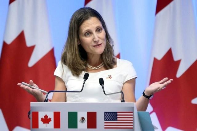 Imagen de archivo de la ministra de Relaciones Exteriores canadiense, Chrystia Freeland, en una rueda de prensa en Ciudad de México, sep 5, 2017. REUTERS/Edgard Garrido