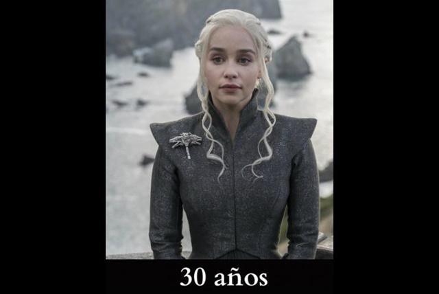 Daenerys Targaryen: Cuando inicia la historia en los libros, la Madre de los Dragones tiene 13 años y 16 en la serie. Actualmente ya sería mayor de edad, aunque la actriz que le da vida, Emilia Clarke está a unos días de cumplir 31 años.