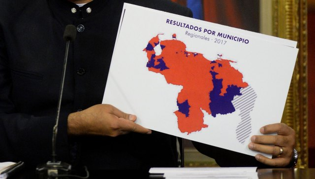 El mapa de los resultados por municipio, según Maduro (Foto AFP)