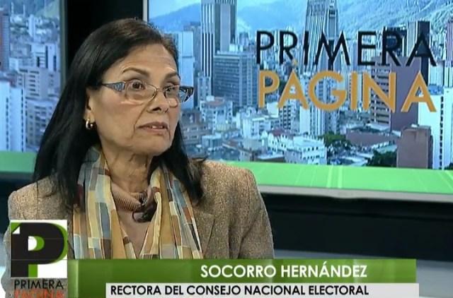Socorro Hernández, rectora principal del Consejo Nacional Electoral // FOTO captura video