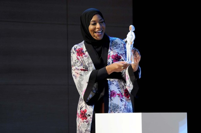 NEW YORK, NY - NOVEMBER 13: U.S. Olympic Medalist Ibtihaj Muhammad speaks onstage a new Barbie doll in her image during Glamour Celebrates 2017 Women Of The Year Live Summit at Brooklyn Museum on November 13, 2017 in New York City. Craig Barritt/Getty Images for Glamour/AFP