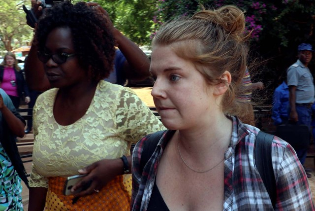 U.S. citizen Martha O'Donovan arrives at court in Harare, Zimbabwe November 4, 2017. O'Donovan was charged on Friday with attempting to overthrow the Zimbabwean government, which carries a sentence of up to 20 years in jail, after police earlier accused her of insulting 93-year-old President Robert Mugabe. REUTERS/Philimon Bulawayo